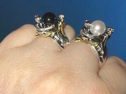 Кольца и перстни - Кольцо Две Леди с натуральным чёрным или белым…, 0