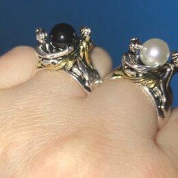 Кольца и перстни - Кольцо Две Леди с натуральным чёрным или белым жемчугом .Серебро 925 пробы., 0