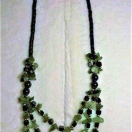 Колье и бусы - Колье-ожерелье-бусы из нефрита и гематита, 0