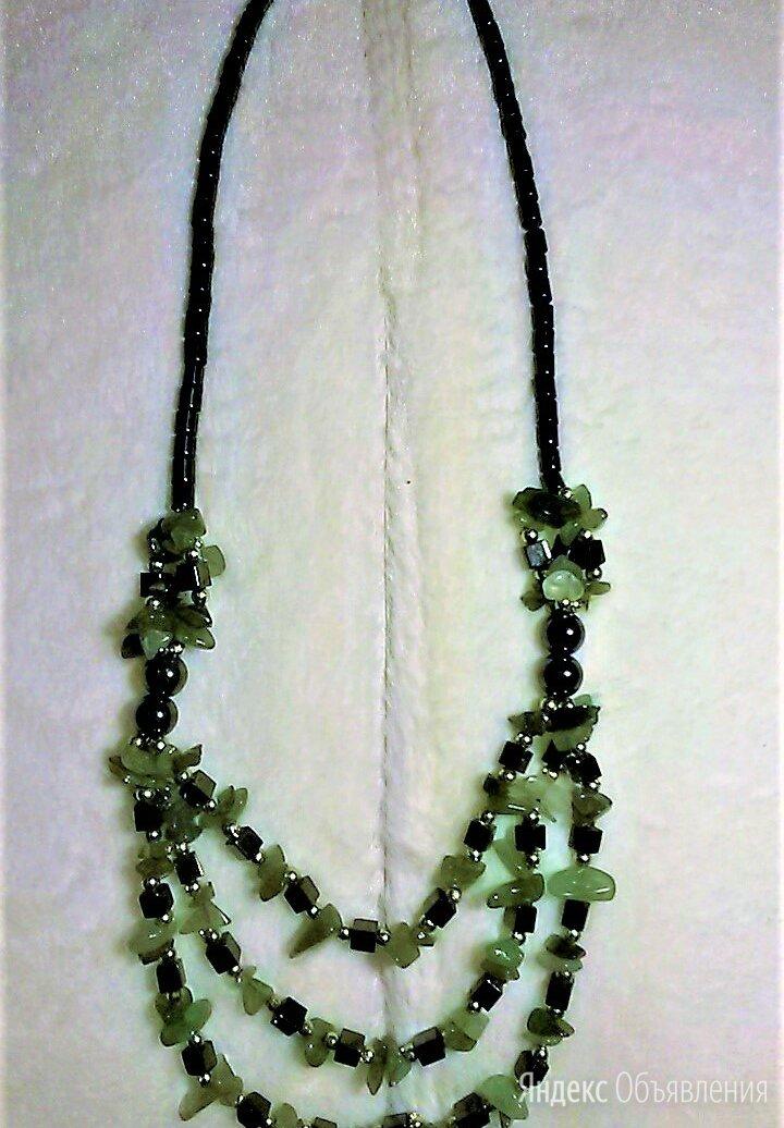 Колье-ожерелье-бусы из нефрита и гематита по цене 800₽ - Колье и бусы, фото 0