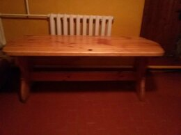 Столы и столики - Сосновый стол и две скамьи, 0