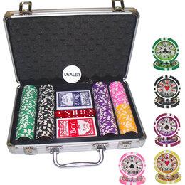 Настольные игры - Покерный набор 200 фишек в металлическом кейсе, 0