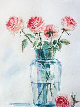 """Картины, постеры, гобелены, панно - """"Нежные розы в вазе"""". Натюрморт акварелью., 0"""