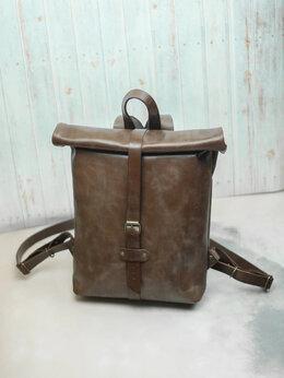 Рюкзаки - Кожаный рюкзак скрутка, мужской, женский. Ручная…, 0