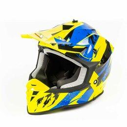 Мотоэкипировка - Шлем мото кроссовый GTX 633 (M) #1 FLUO YELLOW/BLUE BLACK, 0