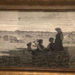 """Картины, постеры, гобелены, панно - Антикварная графика """"Уборка урожая. Дети в поле"""" А.К. Дойнеко 1880-1890гг., 0"""