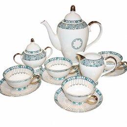 Блюда, салатники и соусники - Чайный сервиз 11 предметов Burisa, белый, голубой, 0