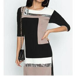 Платья - Платье трёхцветное с пайетками (новое), р. 48, 0
