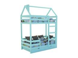 Кроватки - Кровать-домик «SCANDI» Двухъярусная Бирюзовый, 0
