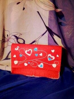 Клатчи - Клатч, кошелёк, сумочка из фетра с вышивкой…, 0