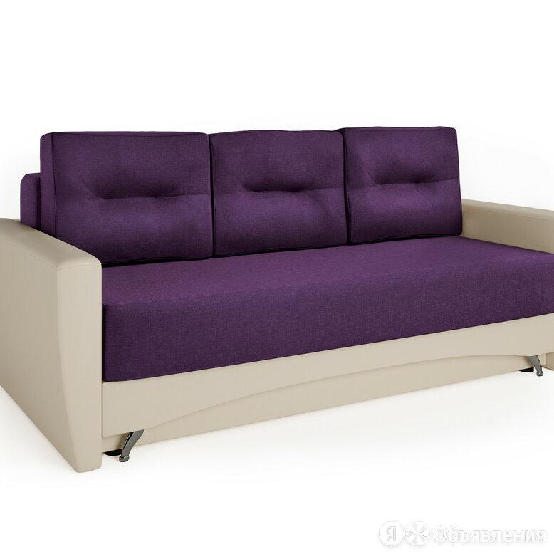 Диван-кровать Опера 130 экокожа беж и фиолетовая рогожка по цене 21390₽ - Диваны и кушетки, фото 0