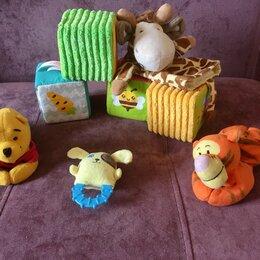 Развивающие игрушки - мягкие развивающие игрушки:кубики малышарики, кукла-перчатка, погремушки , 0
