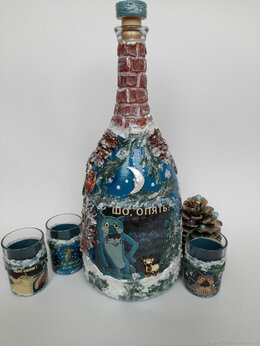 Декупаж - Набор для напитков ( большая бутыль с рюмками)…, 0