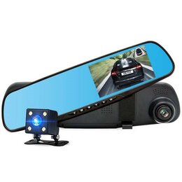 Видеокамеры - Авто видеорегистратор  зеркало + камера (R10), 0