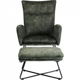 Кресла - Кресло мягкое с оттоманкой хаки Leeds, 0