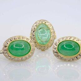 Комплекты - Золотой гарнитур с изумрудами и бриллиантами , 0