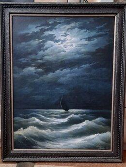 Картины, постеры, гобелены, панно - Картина маслом шторм ночью одинокий парусник, 0