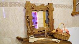 Зеркала - Зеркало в деревянной раме для бани, дачи, 0