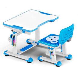 Компьютерные и письменные столы - Растущая парта и стул BD-08 Teddy blue белая,…, 0