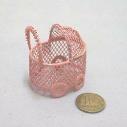 Рукоделие, поделки и сопутствующие товары - 22498 Колясочка мини Y-435/2 ажурная(4х3х5) металл. роз. -, 0