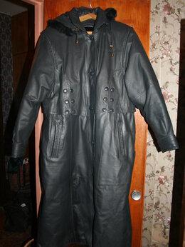 Пальто - Кожаное зимнее пальто 52-54 размер, 0