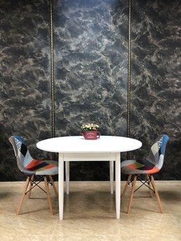 Столы и столики - Круглый раскладной белый стол, 90(+30)*90*75, 0