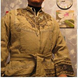 Рубашки - Этническая рубаха(+пояс), лён.Ручная работа, 0