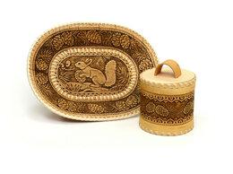 """Подарочные наборы - Набор из бересты """"Шишки"""" туесок и тарелка, 0"""