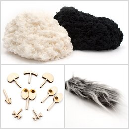 Лепка - PLUSH Пушистый пластилин Черный+белый, 0