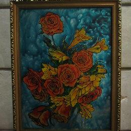 """Картины, постеры, гобелены, панно - Картина """"Осенний букет"""", 30 на 40 см, витражные краски, стекло, 0"""