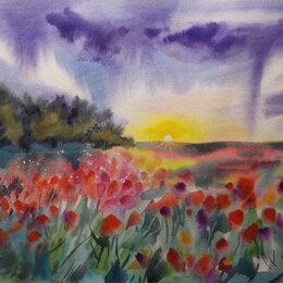 Картины, постеры, гобелены, панно - Маковое поле. Акварель, пейзаж, лето, луг,картина, 0