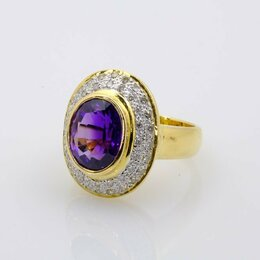 Комплекты - 💎 Золотое кольцо с аметистом и бриллиантами 750 , 0