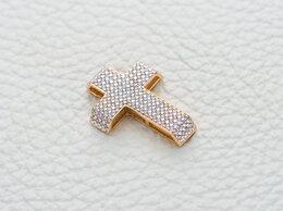 Иконы - Крест с 140 фианитами из красного золота, 0