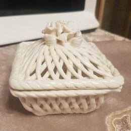 Шкатулки - Фарфоровая шкатулка плетенная.Белые розы..…, 0