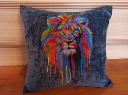Декоративные подушки - Лев на темном. Декоративная подушка с машинной…, 0