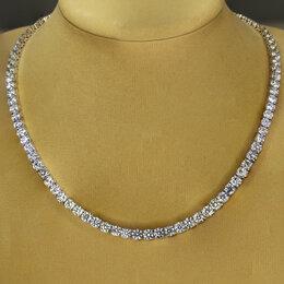 Колье и бусы - Невероятное теннисное ожерелье с бриллиантами из белого золота 750 пробы., 0