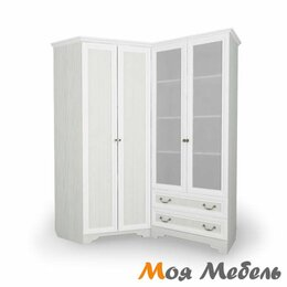Шкафы, стенки, гарнитуры - Угловой блок № 2 Шкаф угловой + Стеллаж со стеклянными дверцами с Правой сторо, 0