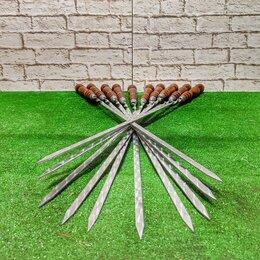 Шампуры - Шампуры 55 см с деревянной ручкой 10, 0