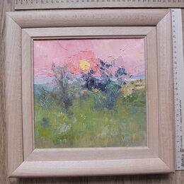 Картины, постеры, гобелены, панно - картина Закат солнца в степи,холст,масло,НХ, 0