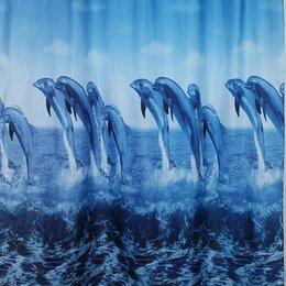 Шторы и карнизы - Штора для ванной САНАКС Дельфины 1800*1800 мм 01-04, 0
