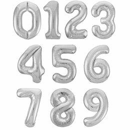 Воздушные шары - Серебряная цифра из фольги, 0