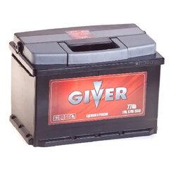 Аккумуляторы и комплектующие - Аккумулятор автомобильный GIVER 6СТ-77.0 77Ач 570А Обратная полярность, 0