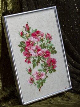 """Картины, постеры, гобелены, панно - Интерьерная вышивка """"Розовый шиповник"""", 0"""