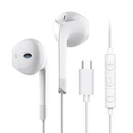 Наушники и Bluetooth-гарнитуры - Наушники проводные Type-C Langsdom E6T белый, 0