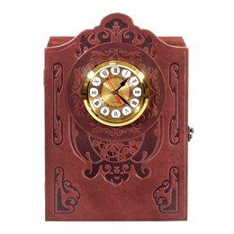 Винные шкафы - Бар-книга с часами, натуральная кожа, 0