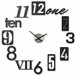 Часы настенные - Часы настенные numbra черные, 0