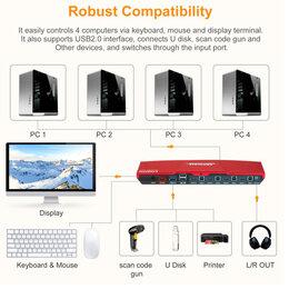 Компьютерные кабели, разъемы, переходники - Переключатель 1 hdmi на 4 канала hdmi с пультом, 0