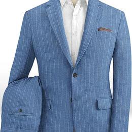 Костюмы - Голубой костюм в меловую полоску из шерсти, льна и шелка, 0