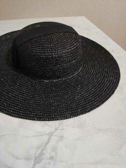 Головные уборы - Чёрная соломенная шляпа , 0