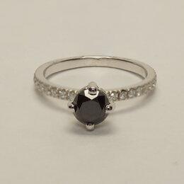 Кольца и перстни - Помолвочное кольцо с черным бриллиантом и паве…, 0